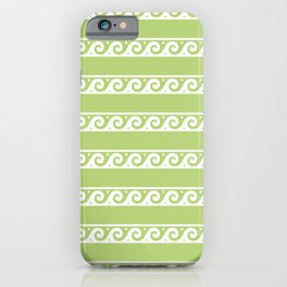 Green and white Greek wave ornament pattern iPhone Case