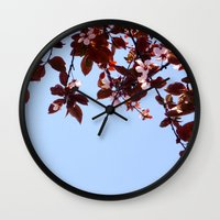 cherry blossom Wall Clocks featuring Cherry Blossom by madbiffymorghulis