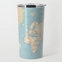 "Cream, brown and muted teal world map, ""Jett"" Travel Mug"