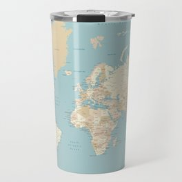 "Cream, brown and muted teal world map, ""Jett"" Travel Mug"