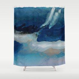 DEEP - Ocean art Resin painting, abstract seascape, coastal painting Shower Curtain
