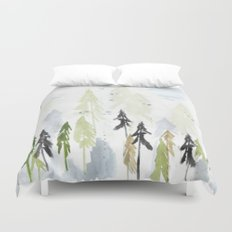 Into the woods woodland scene Duvet Cover