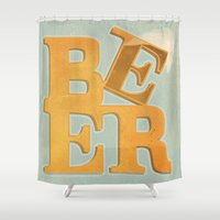 beer Shower Curtains featuring Beer by Andrew Haines Art