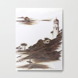 Diamond Head Lighthouse in Browns and Bronze Metal Print
