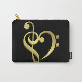 Treble clef, bass clef music heart love Carry-All Pouch