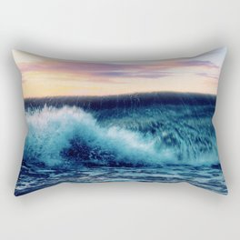Waves Crashing At Sunset Rectangular Pillow