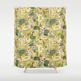 Vintage Beauty Products Toss Shower Curtain