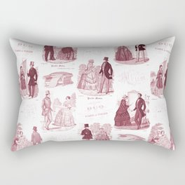 Biedermeier Red Fashion Toile Rectangular Pillow
