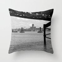 liverpool Throw Pillows featuring Liverpool - An Alternative View by Caroline Benzies Photography