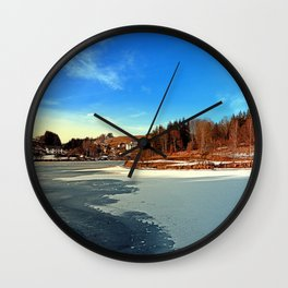 Frozen river panorama | waterscape photography Wall Clock