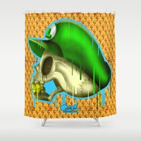 luigi Shower Curtains featuring Dead Heroes Luigi by Ant Errickson by Ant Errickson