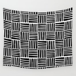 Linocut black and white minimal pattern stripes criss cross squares Wall Tapestry