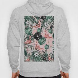 Tropical Flamingo Flower Jungle #4 #tropical #decor #art #society6 Hoody