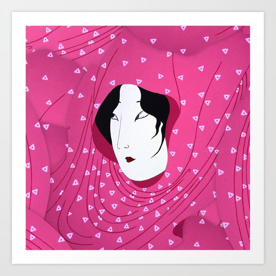 Girly Japanese Geisha Illustration Pink Pattern Art Print