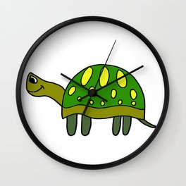 Funny drawn turtle in color Wall Clock