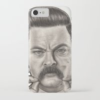 ron swanson iPhone & iPod Cases featuring Ron Swanson by Leslie @ PoeDesigns.com
