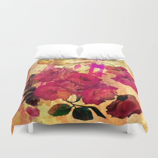 roses on abstract background Duvet Cover