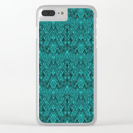 A snake's skin . Turquoise Clear iPhone Case