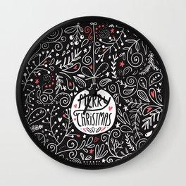 Merry Christmas doodles Wall Clock