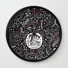 Merry Christmas doodles Wall Clock