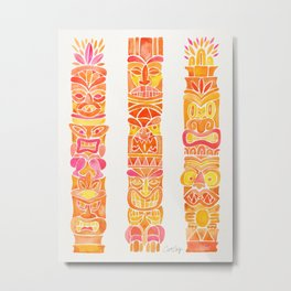 Tiki Totems – Orange Ombré Metal Print