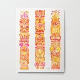 Tiki Totems – Orange Ombré Metal Print