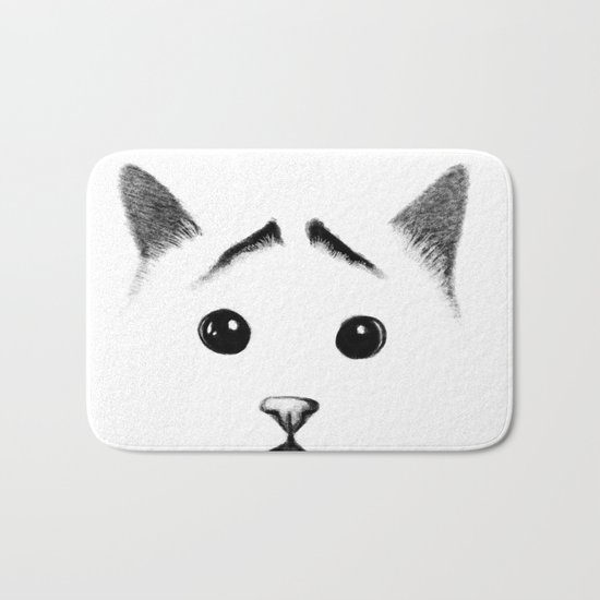 Cat with eyebrows Bath Mat