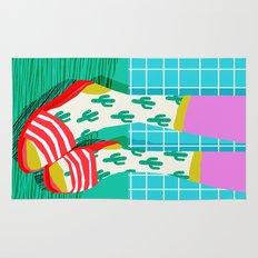 Sliders - memphis throwback retro neon 1980s 80s style pop art shoe fashion grid pattern socks Rug