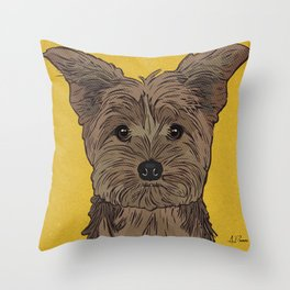 Icons of the Dog Park: Yorkie Design in Bold Colors for Pet Lovers Throw Pillow