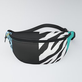 Animal Print, Zebra Stripes, Leopard Spots - Blue Fanny Pack