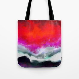 Abstract in Red, White and Purple Tote Bag