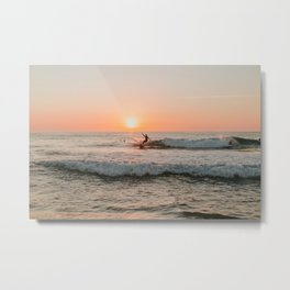 Summer Sunset Surfing Metal Print
