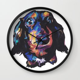 Dachshund Dog bright colorful Doxie Portrait Pop Art Painting by LEA Wall Clock
