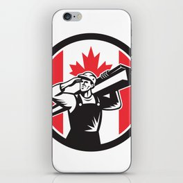 Canadian Construction Worker Canada Flag Icon iPhone Skin