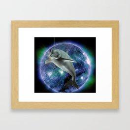 Space dolphin Framed Art Print