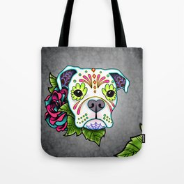 Boxer in White- Day of the Dead Sugar Skull Dog Tote Bag