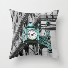Chicago Marshall Field's Clock Photo Throw Pillow
