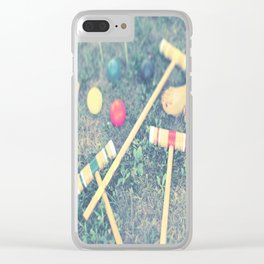Red, Green, Yellow, Croquet, Grass, Toes, Summer, Clear iPhone Case