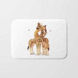 Cute giraffes loving family Bath Mat