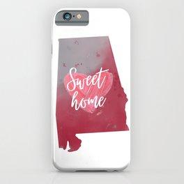 Sweet Home Map Alabama Pink Print iPhone Case