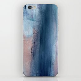 In a Blur: an abstract mixed media piece in pinks, blues, and purple iPhone Skin