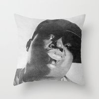 notorious Throw Pillows featuring Notorious B.I.G by tyler Guill
