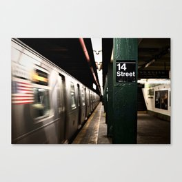 Speeding Subway Train Canvas Print