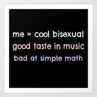 bisexual Art Prints featuring cool bisexual by chocolock