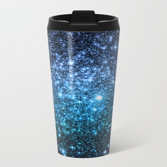 Galaxy Sparkle Stars Periwinkle Blue Turquoise Ombre Metal Travel Mug