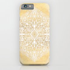 White Gouache Doodle on Gold Paint iPhone 6 Slim Case