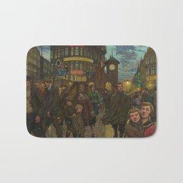 Bustling Berlin Street, Twilight, 1920's by Hans Baluschek Bath Mat