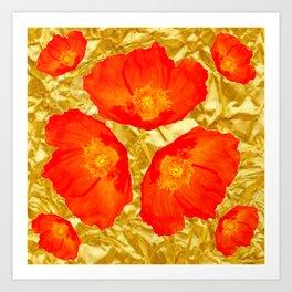GOLD FOIL SETTING FOR ORANGE POPPIES Art Print