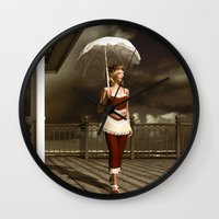 scandal Wall Clocks featuring The victorian scandal by Britta Glodde