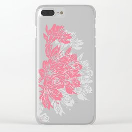Cherry Blossom Grey Block Print Clear iPhone Case